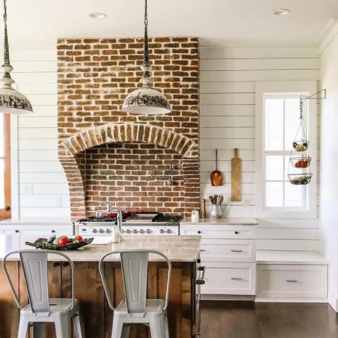 Brick Stove Vent, Industrial Chic Kitchen