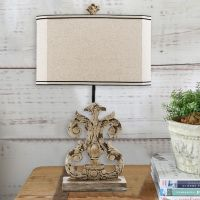 Antiqued Whitewashed Table Lamp Set of 2