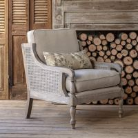 Cushioned Cane Back Accent Chair