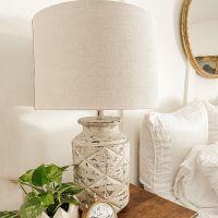 White Washed Farmhouse Table Lamp Set of 2
