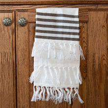 Simple Stripes Fringe Trim Tea Towel