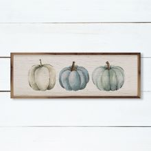 Three Pumpkins Blue Whitewash Wall Art