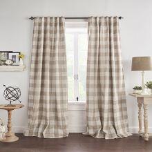 Tan and Linen Buffalo Check Room Darkening Curtain Panel Set of 2 52x95
