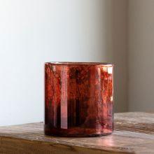 Antiqued Plum Mercury Glass Hurricane 5 Inch