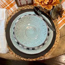 Aqua Farmhouse Stoneware Bowls Set of 4 Bundle