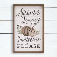 Autumn Leaves Pumpkins Please White Wall Art