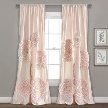 Textured Floral Chic Curtain Panel Set of 2