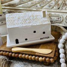 House Shaped Butter Dish With Spreader