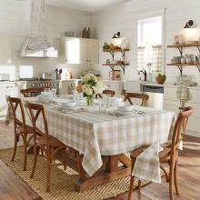 Tan and White Buffalo Check Farmhouse Tablecloth