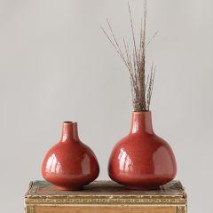 Narrow Top Stoneware Vase Set of 2