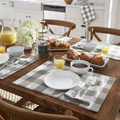 Grey and White Check Placemats Set of 4