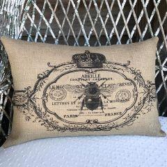 Bee Crest Burlap Pillow