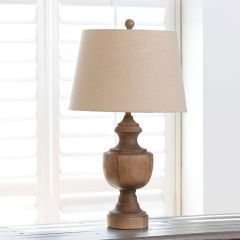 Wooden Urn Table Lamp