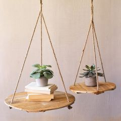 Recycled Wood Round Hanging Display Boards Set of 2