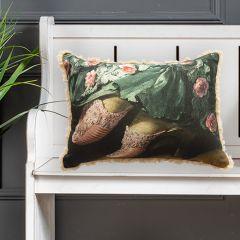 Vintage Inspired Fringed Lumbar Pillow