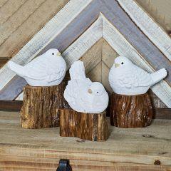 Bird On Stump Figure Set of 3