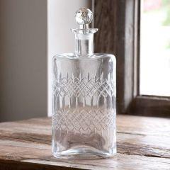 Elegant Etched Glass Decanter