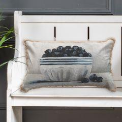 Blueberries In Bowl Fringed Lumbar Pillow