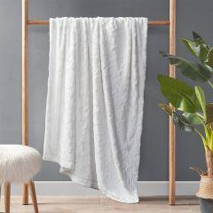 Faux Fur Farmhouse Throw Blanket White