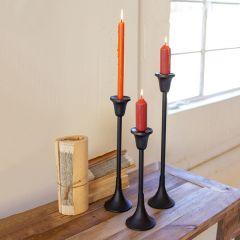 Dark Metal Taper Candle Stand Set of 3