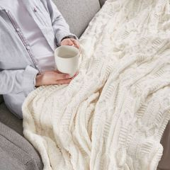 Cozy Cable Knit Throw Blanket