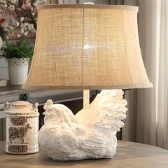 White Wash Rooster Table Lamp
