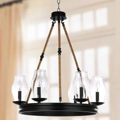 6 Light Round Lantern Chandelier