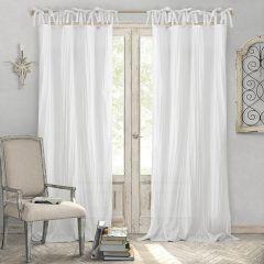 Simple Tie Top Semi Sheer Curtain Panel Set of 2 52x84