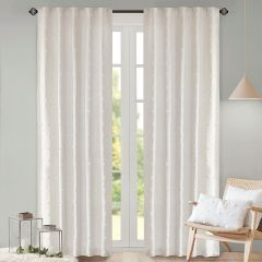 Cotton Jacquard Pom Pom Window Panel Set of 2 84 Inch