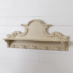 Distressed Intricate Shelf With Hooks