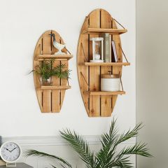 Surfboard Shaped Wood Wall Shelf Set of 2