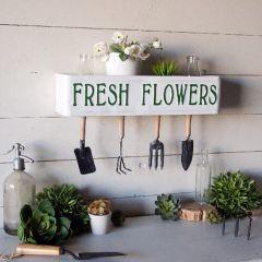 Fresh Flowers Farmhouse Shelf Sign