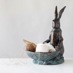 Patina Rabbit Bird Bath