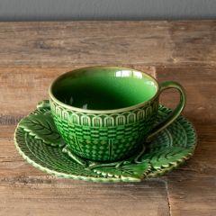Glazed Teacup With Saucer Set of 2