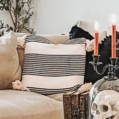 Tasseled Cotton And Chenille Striped Throw Pillow