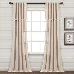 Faux Linen Tasseled Curtain Panel Set of 2