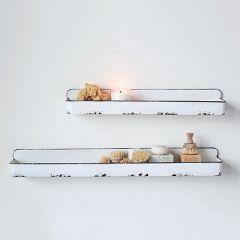 Distressed Enameled Tray Shelf Set of 2