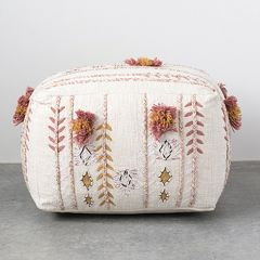 Embroidered Pouf Ottoman