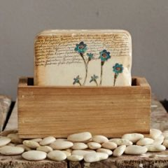 Flower Coaster and Wooden Holder