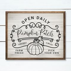 Open Daily Pumpkin Patch Whitewash Framed Sign