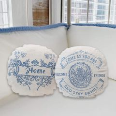 Embroidered Round Pillows Set of 2
