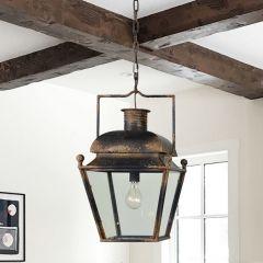 Antiqued Lantern Style Pendant Light