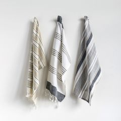 Striped Cotton Tea Towel with Tassels Set of 3