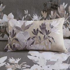 Floral Embroidered Cotton Lumbar Pillow