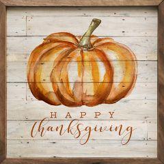 Happy Thanksgiving Pumpkin Whitewash Wall Art