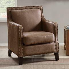 Faux Leather Modern Farmhouse Accent Chair