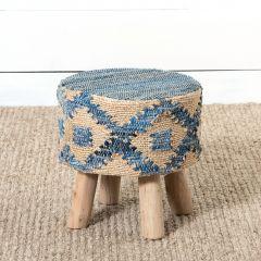 Hemp With Recycled Denim Footstool