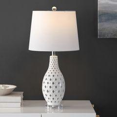 Diamond Cutout Ceramic Table Lamp