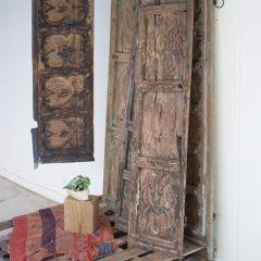 Antiqued Wooden Door Panel Wall Decor