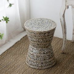 Tapered Symmetrical Patterned Accent Stool